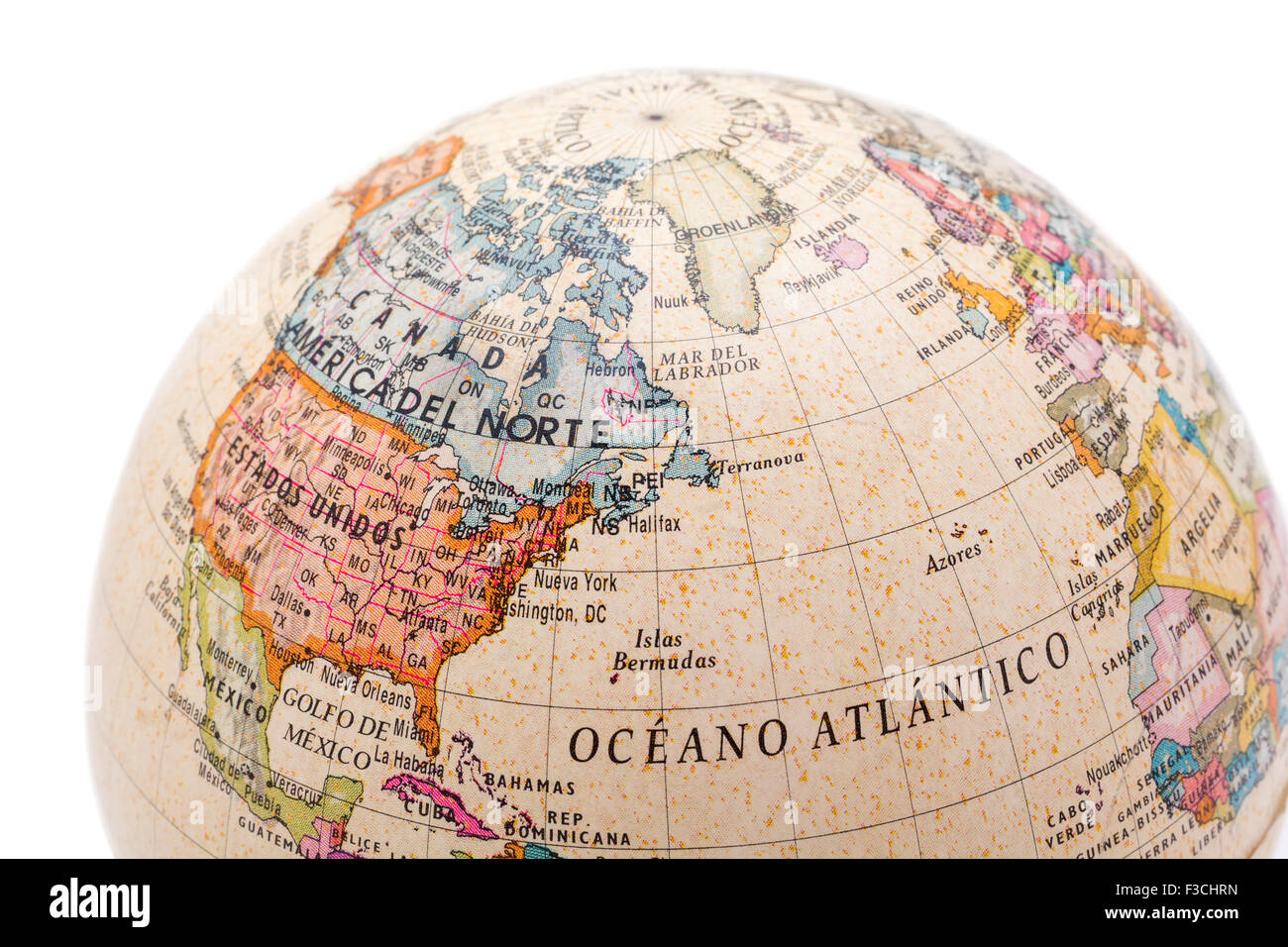 Part Of A Globe With Map Of Canada USA And Greenland Isolated On - Globe of usa