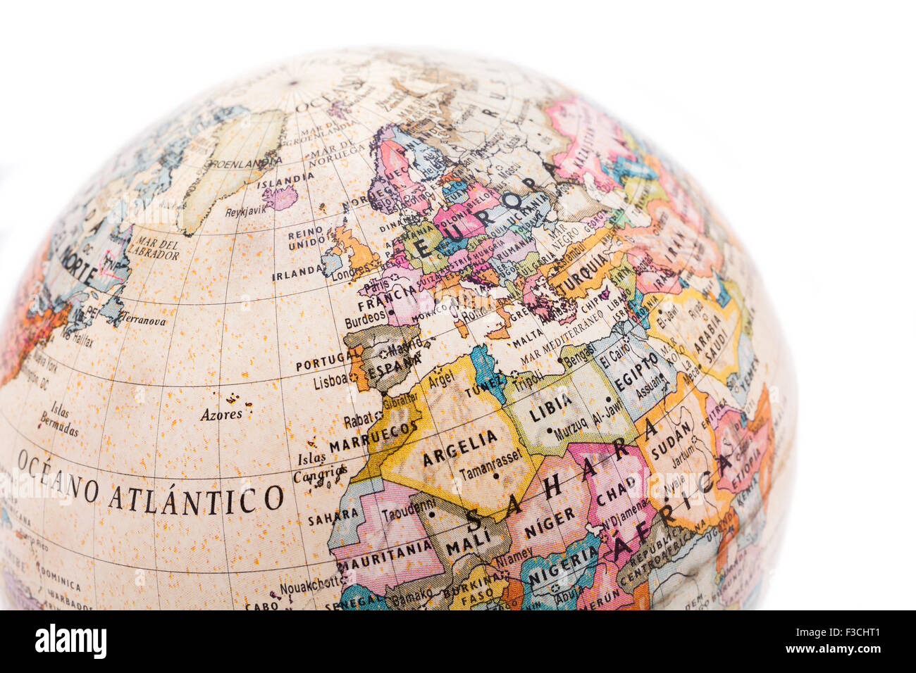 Part Of A Globe With Map Of Europe And Africa Isolated On White – Globe Map of Europe