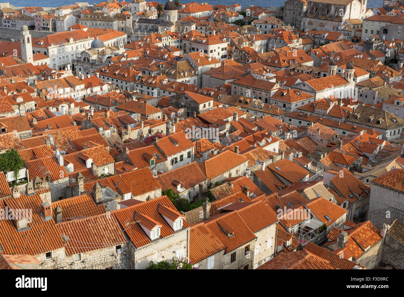 Perfect Red Roofs In The Old Town In Dubrovnik, Croatia, Viewed From Above.