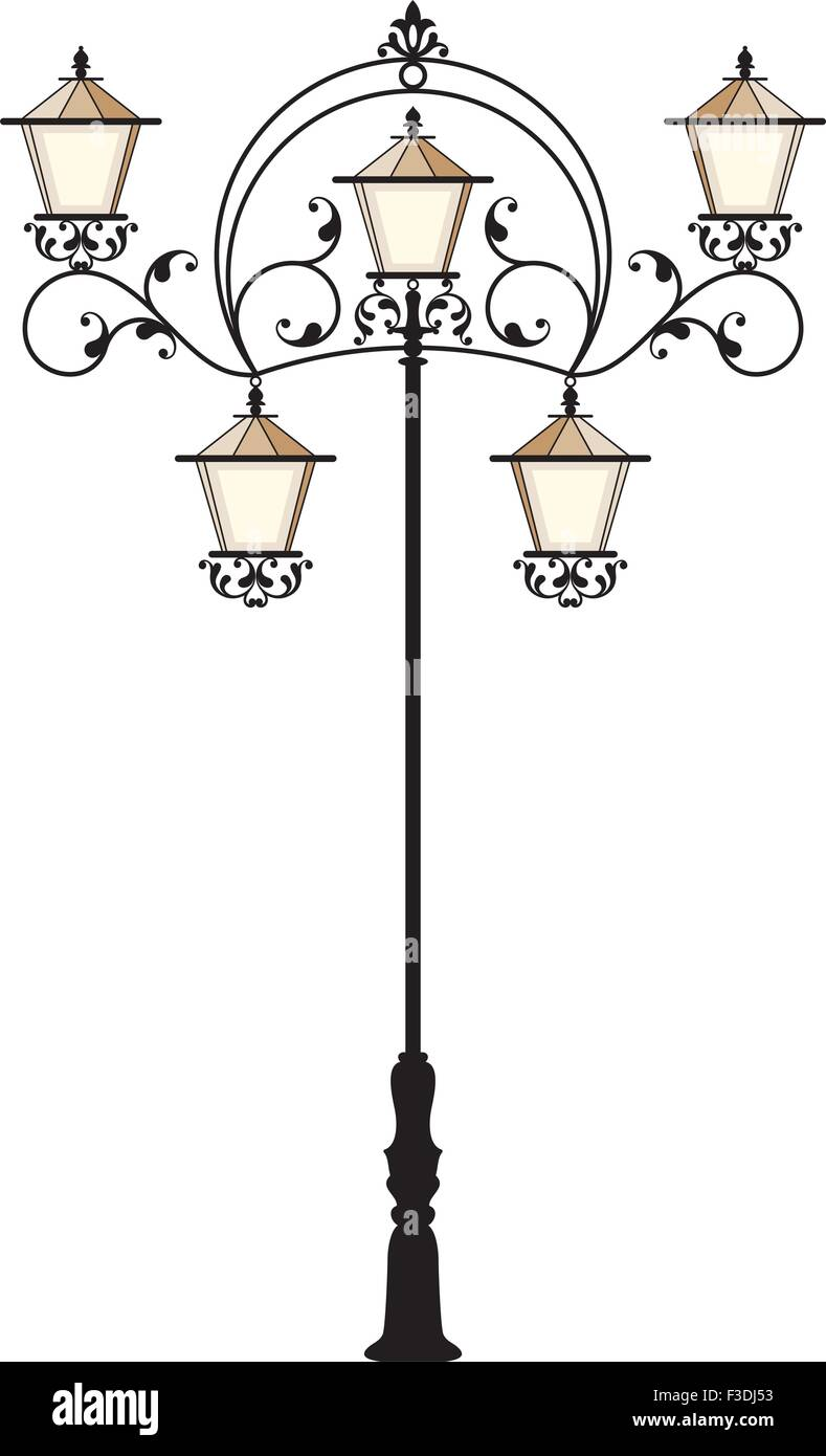 Wrought Iron Street Lamp Post Vector Art Stock Vector Art ... for Street Lamp Post Vector  181obs