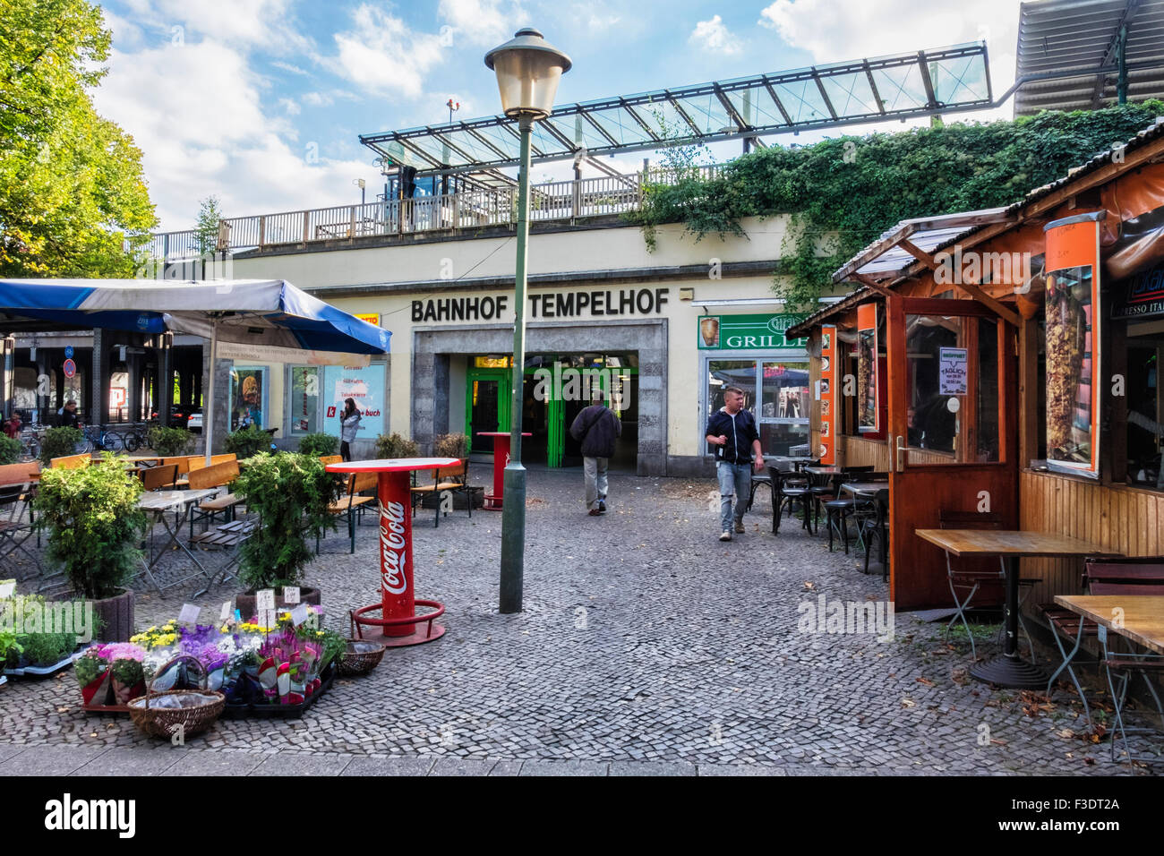 berlin bahnhof tempelhof s bahn railway station exterior plant shop stock photo royalty free. Black Bedroom Furniture Sets. Home Design Ideas