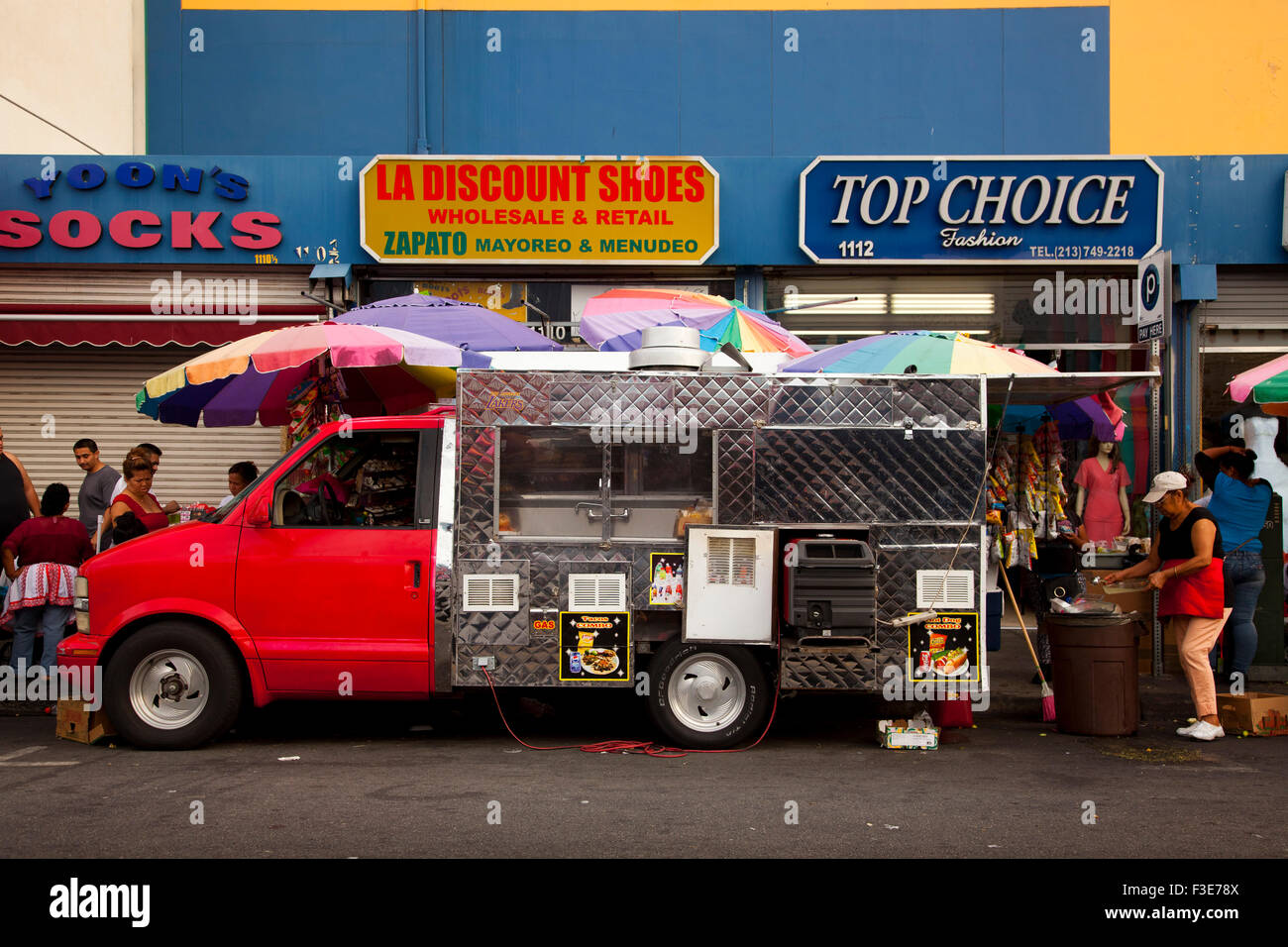 Food Truck Maple Avenue Garment District Downtown Los Angeles California USA