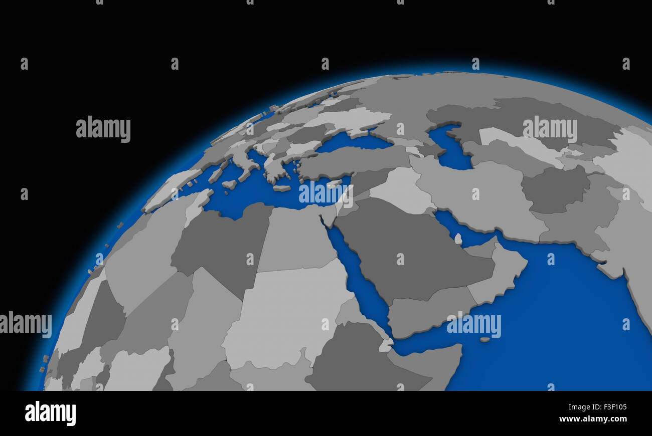 Middle East Region On Planet Earth Political Map Stock Photo - Earth political map