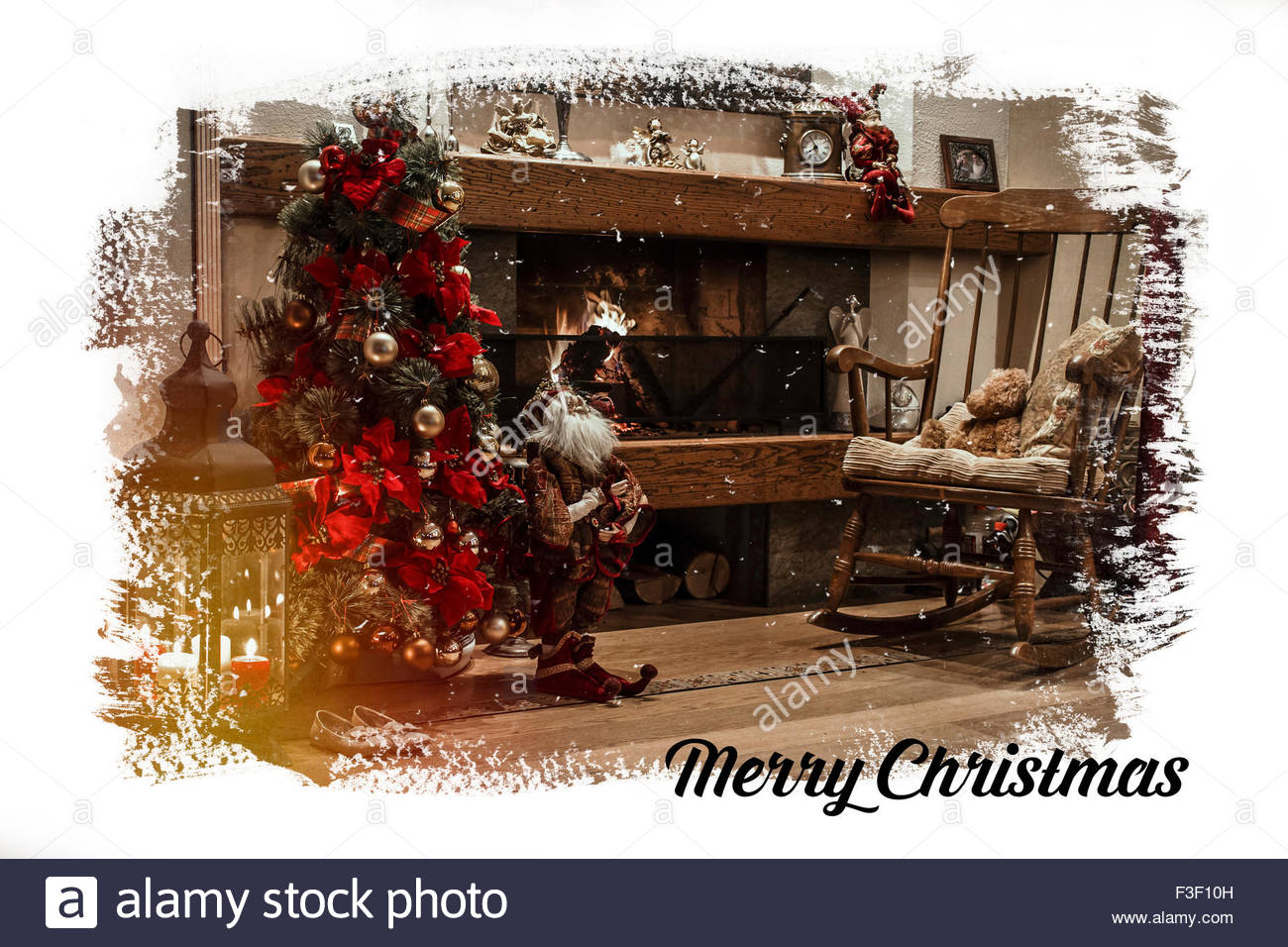 classic christmas card with decorated christmas tree near burning fireplace and wooden chair - Classic Christmas Tree