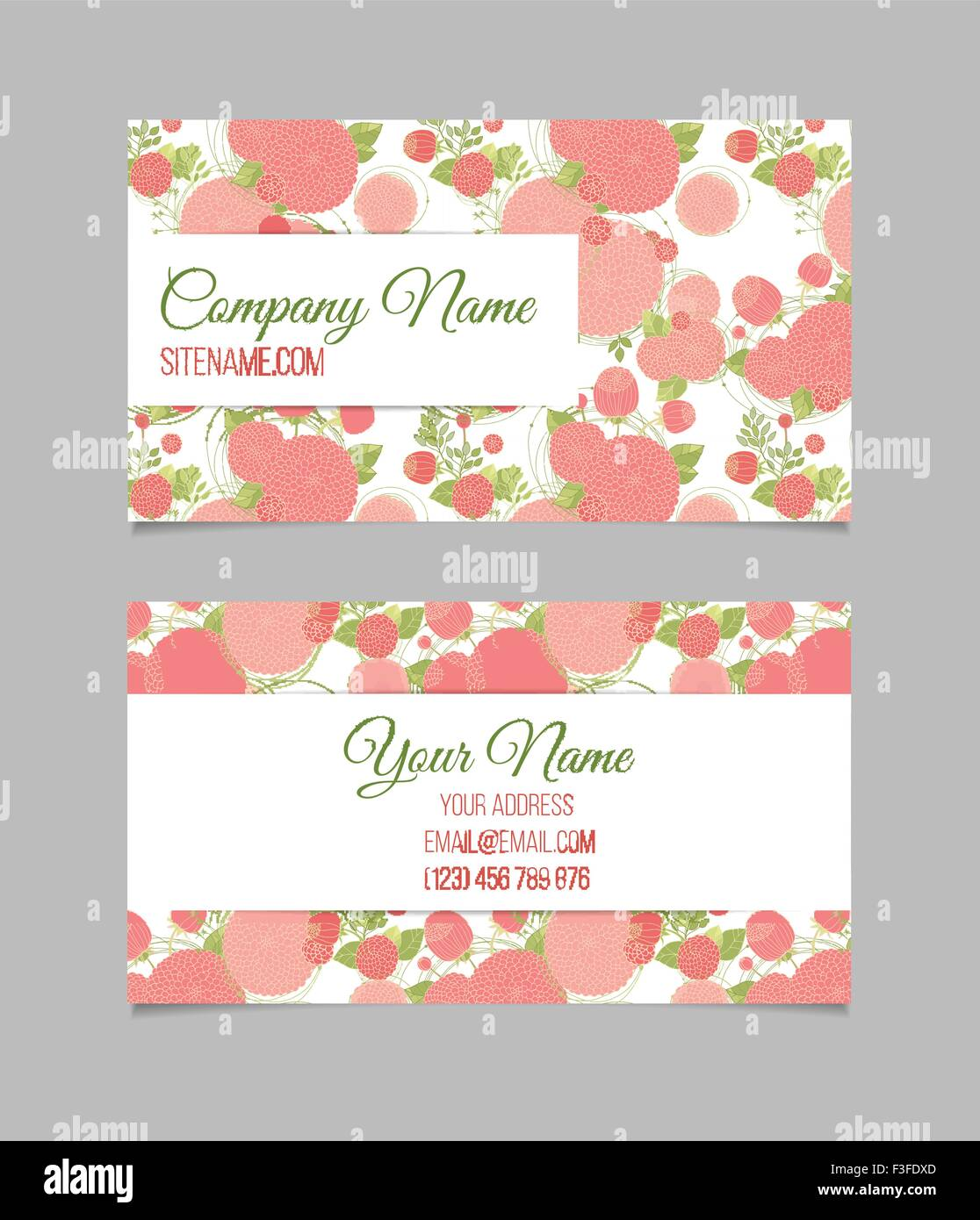 Double-sided floral business card Stock Vector Art & Illustration ...