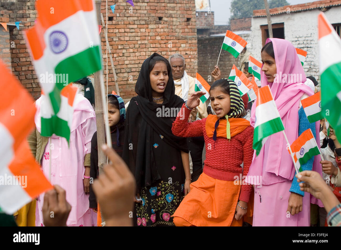 Muslim children with Indian flag on republic day 26th ...