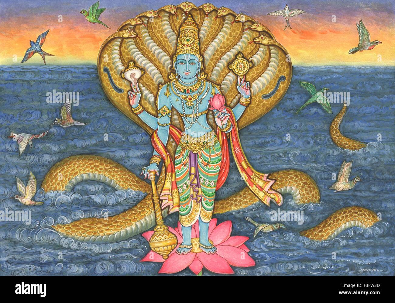 Lotus flower hindu stock photos lotus flower hindu stock images painting of hindu god vishnu standing on lotus flower and protected by hydra headed snake in dhlflorist Gallery