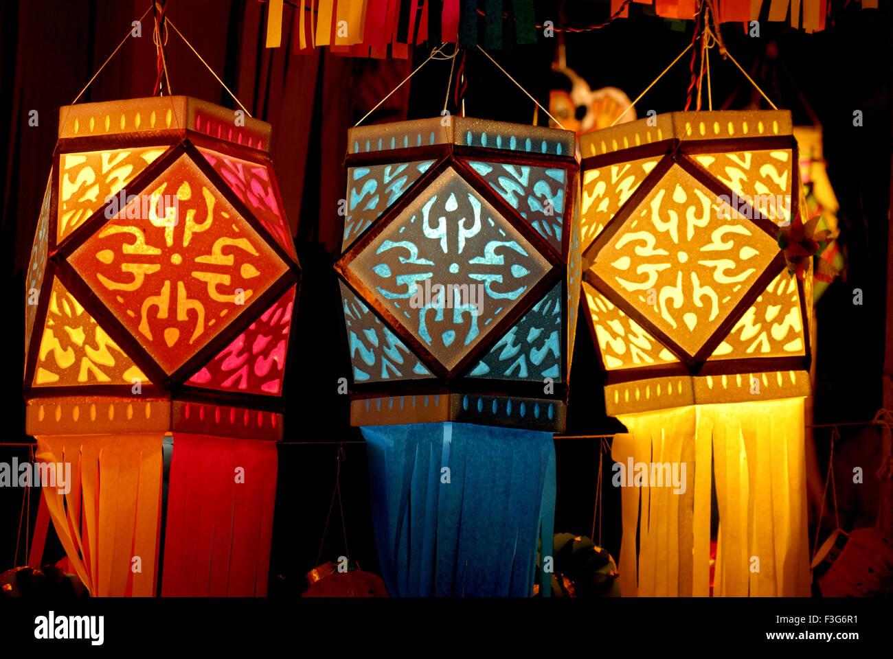 Colorful lantern for sale diwali festival of light at for Indoor diwali decoration