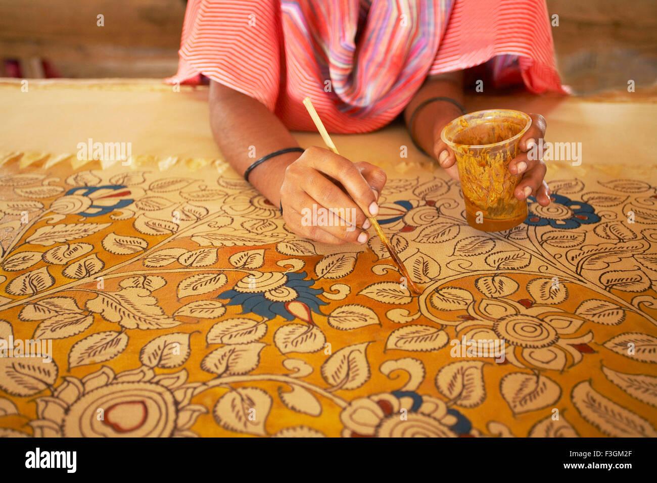 Marvelous Kalamkari Textile Craft Hand Application Of Vegetable Dye Wooden Brush Hand  Drawn Design Sri Kalahasthi Andhra Pradesh