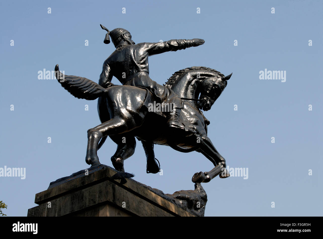 statue of shivaji maharaj at dadar shivaji park bombay mumbai stock photo royalty free