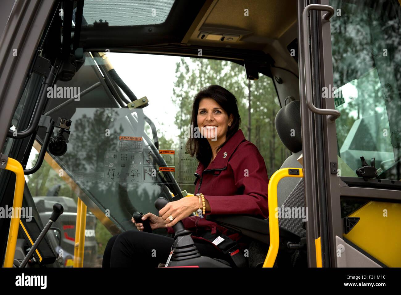 South Carolina Governor Nikki Haley Behind The Controls Of An