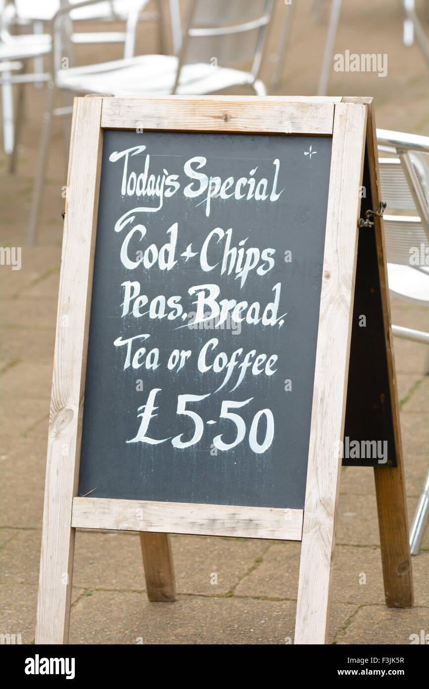 todays special cod chips peas bread with tea or coffee for 5 50