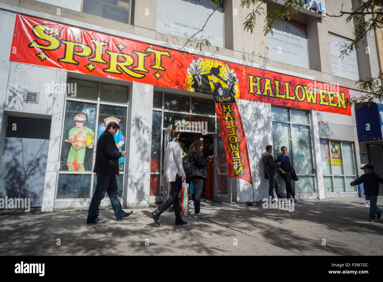 stock photo the window of a spirit halloween pop up store in new york entices shoppers with the halloween supplies available inside seen on sunday - Halloween Stores Ny