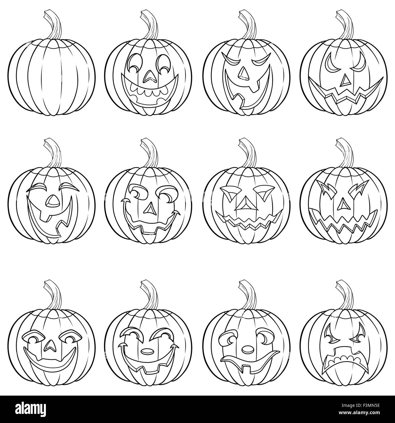halloween set of six funny smiling pumpkin outlines with various
