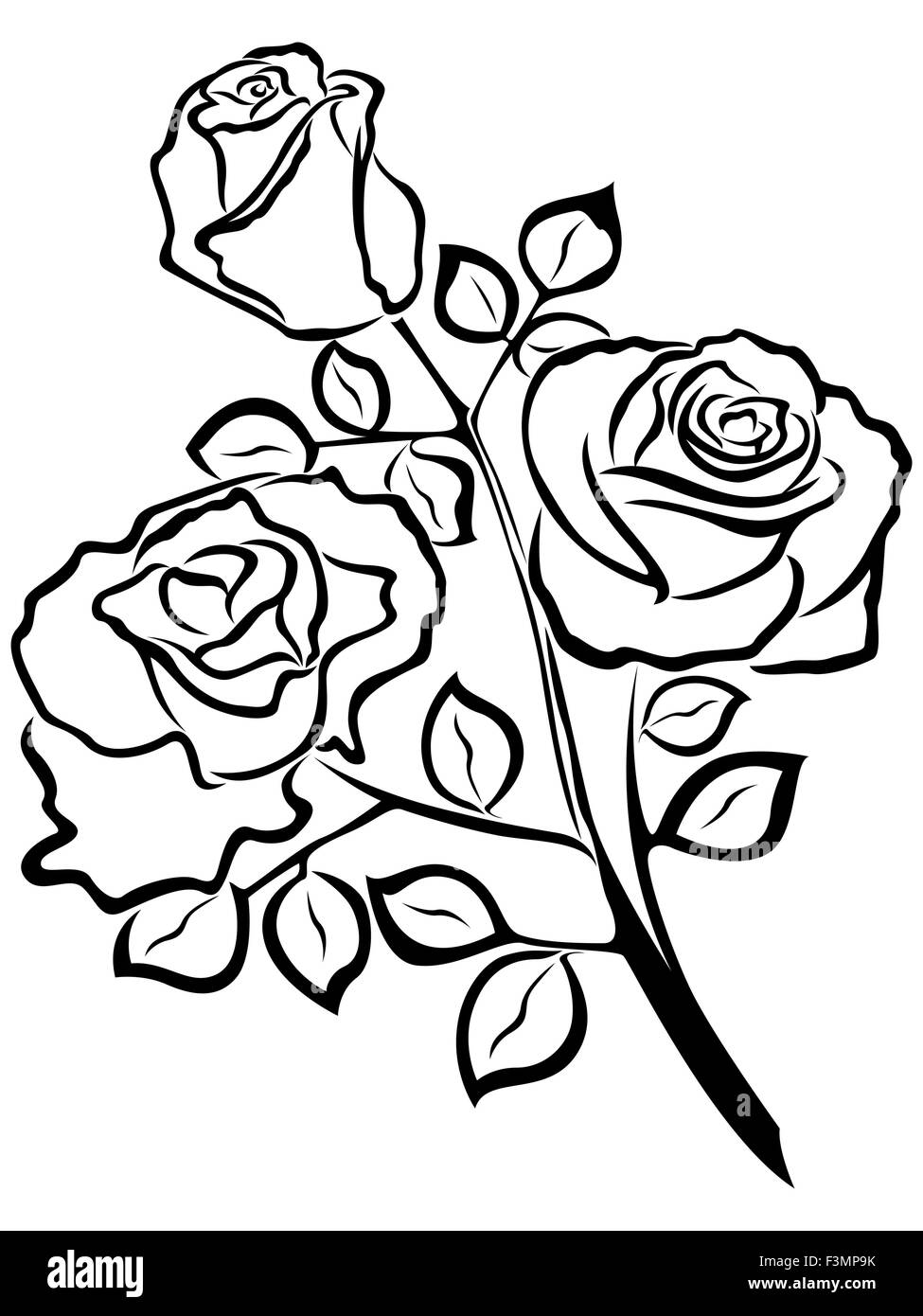 Black Outline Of Rose Flowers Isolated On A White