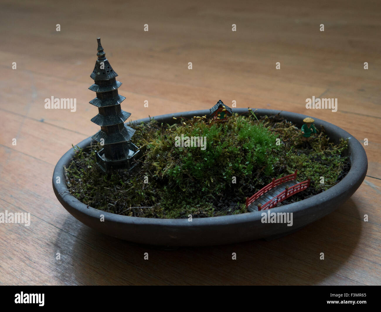 A dish garden with a Japanese theme Stock Photo Royalty