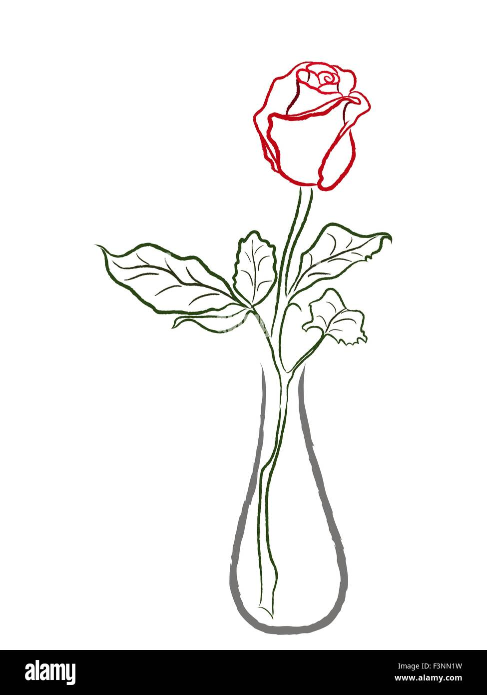 Stylized Red Rose In A Vase Isolated On White Background