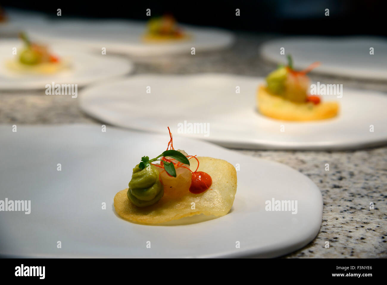 gourmet appetizers ready to be served in a fancy restaurant stock