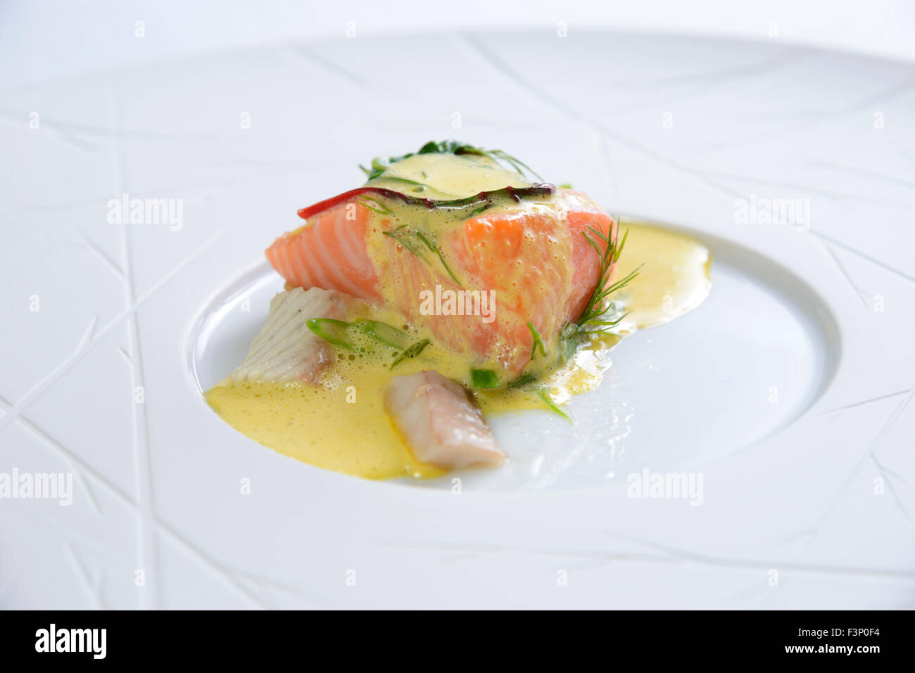 Nouvelle cuisine gourmet salmon fish dish stock photo for Nouvelle cuisine