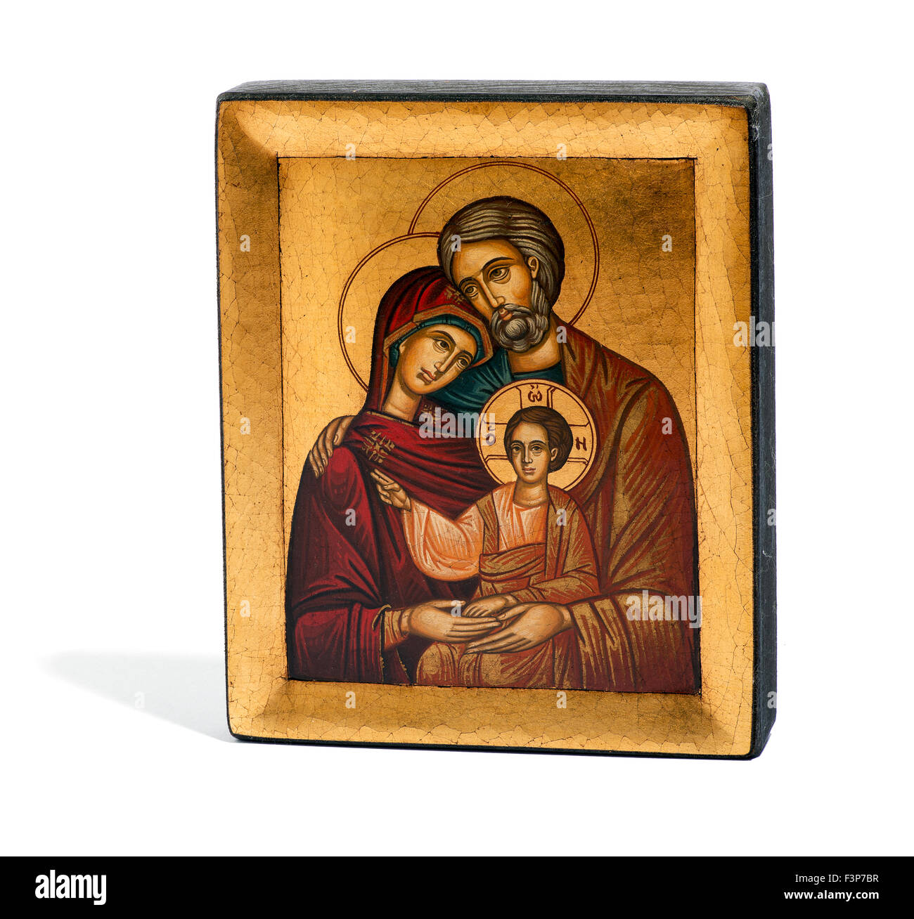 gilded painted wooden religious icon of joseph mary and the baby