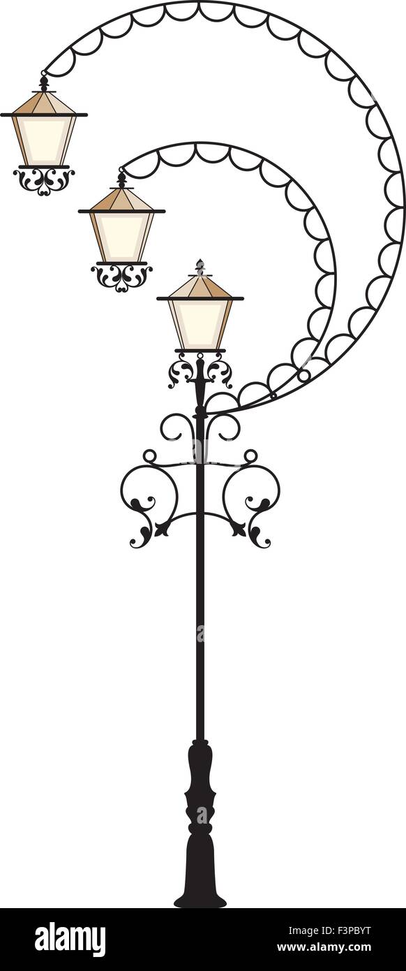 Wrought Iron Street Lamp Post Vector Art Stock Vector Art ... for Street Lamp Post Vector  157uhy