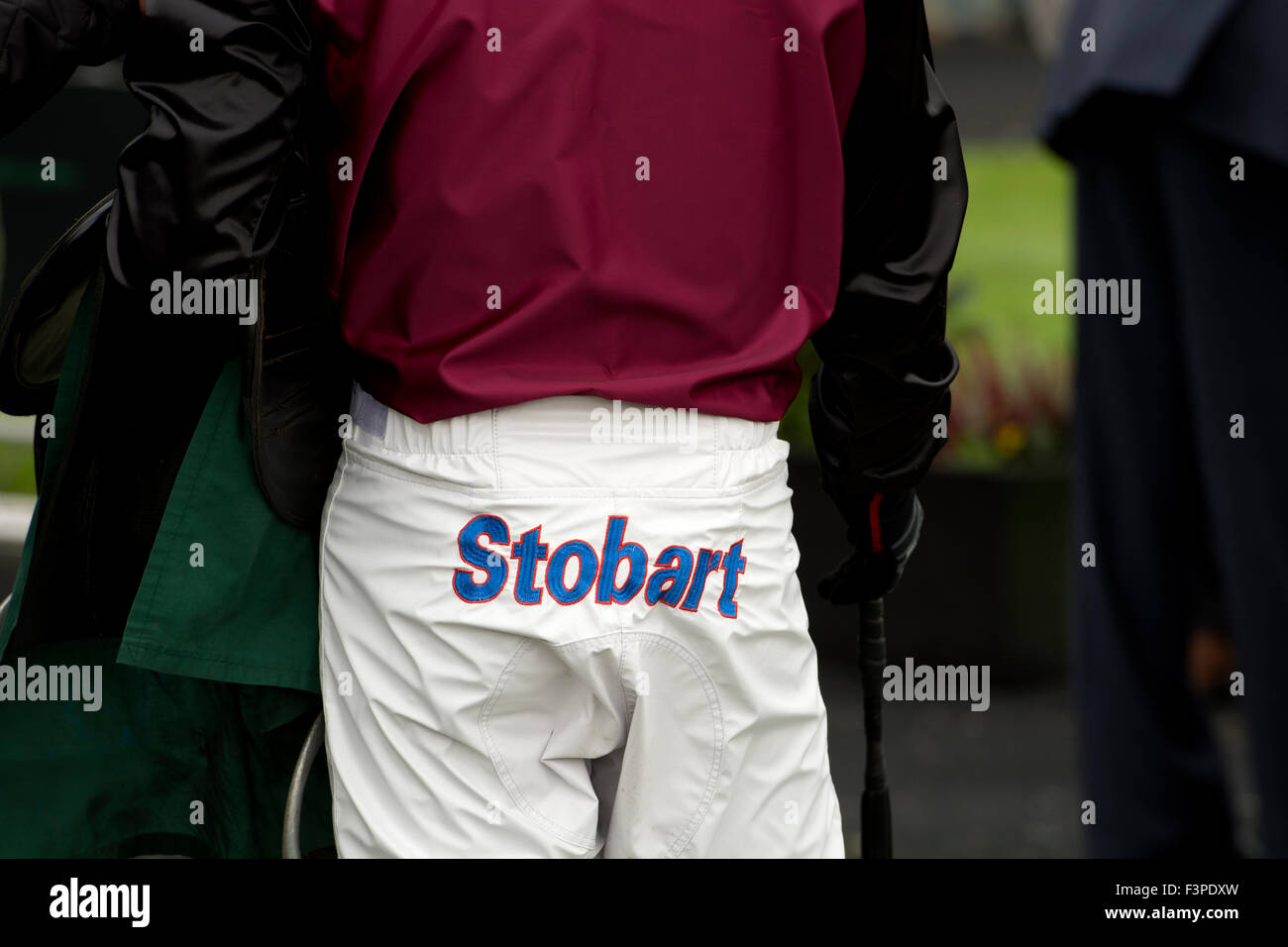 Stobart Sponsorship On A Jockey`s Breeches, Towcester Races, UK  Clothing Sponsorship