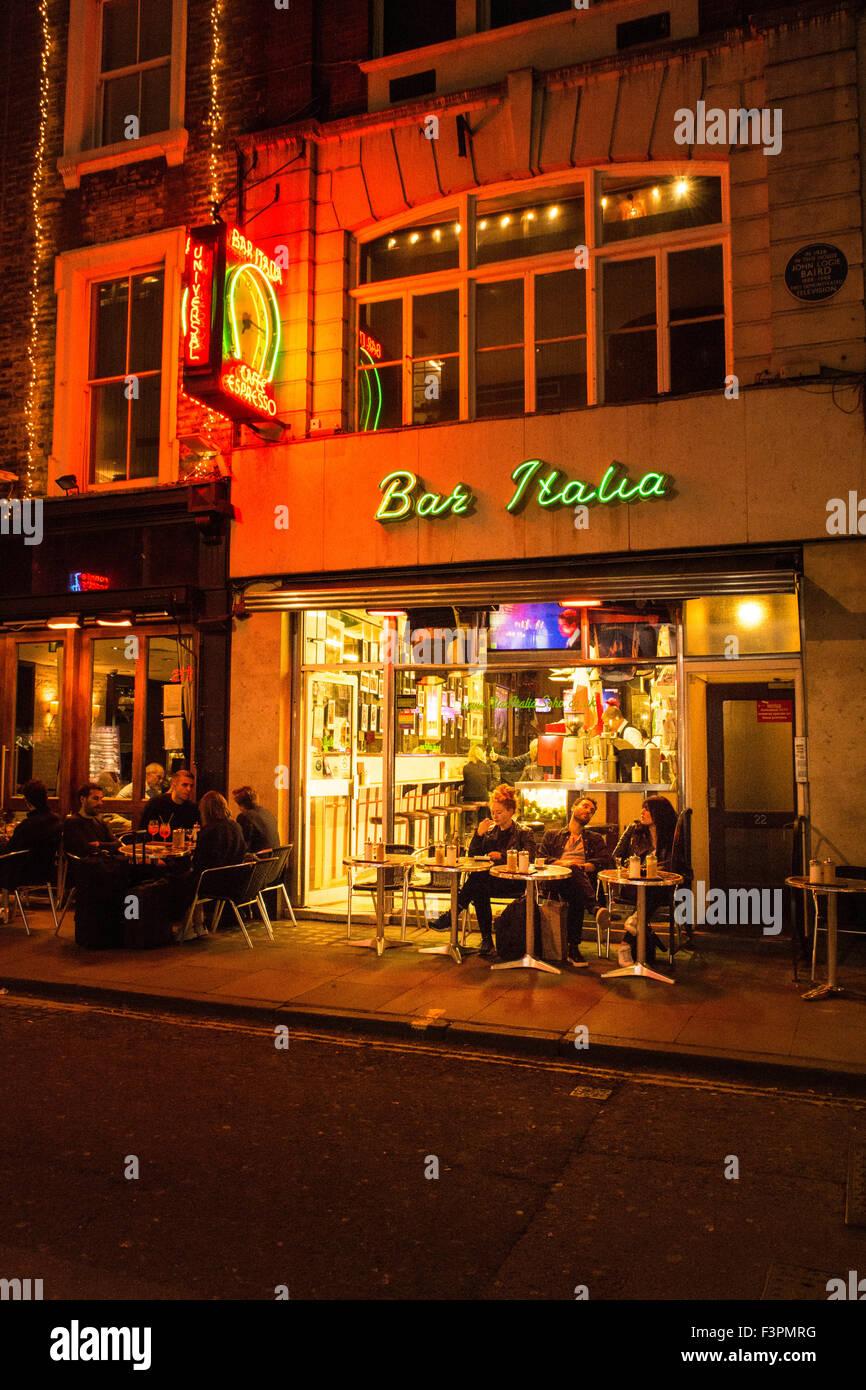 Dining In The Dark London >> Bar Italia, Frith Street, Soho London. Traditional and famous Italian Stock Photo, Royalty Free ...