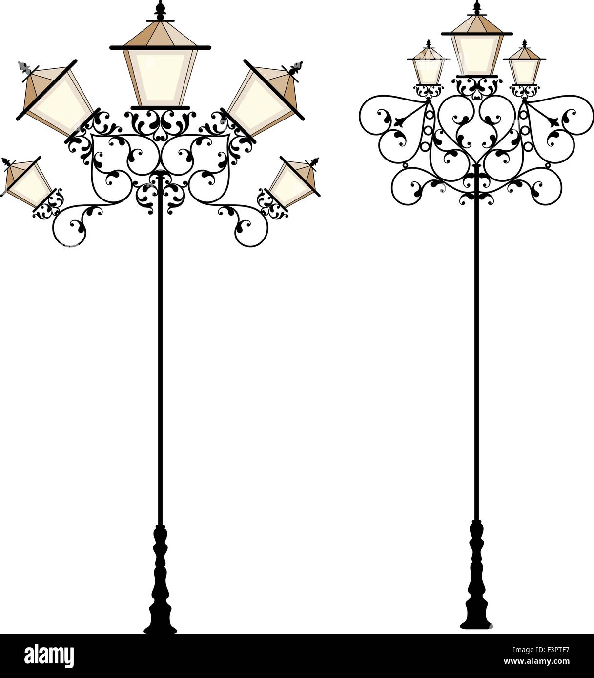 Wrought Iron Street Lamp Post Vector Art Stock Vector Art ... for Street Lamp Post Vector  303mzq