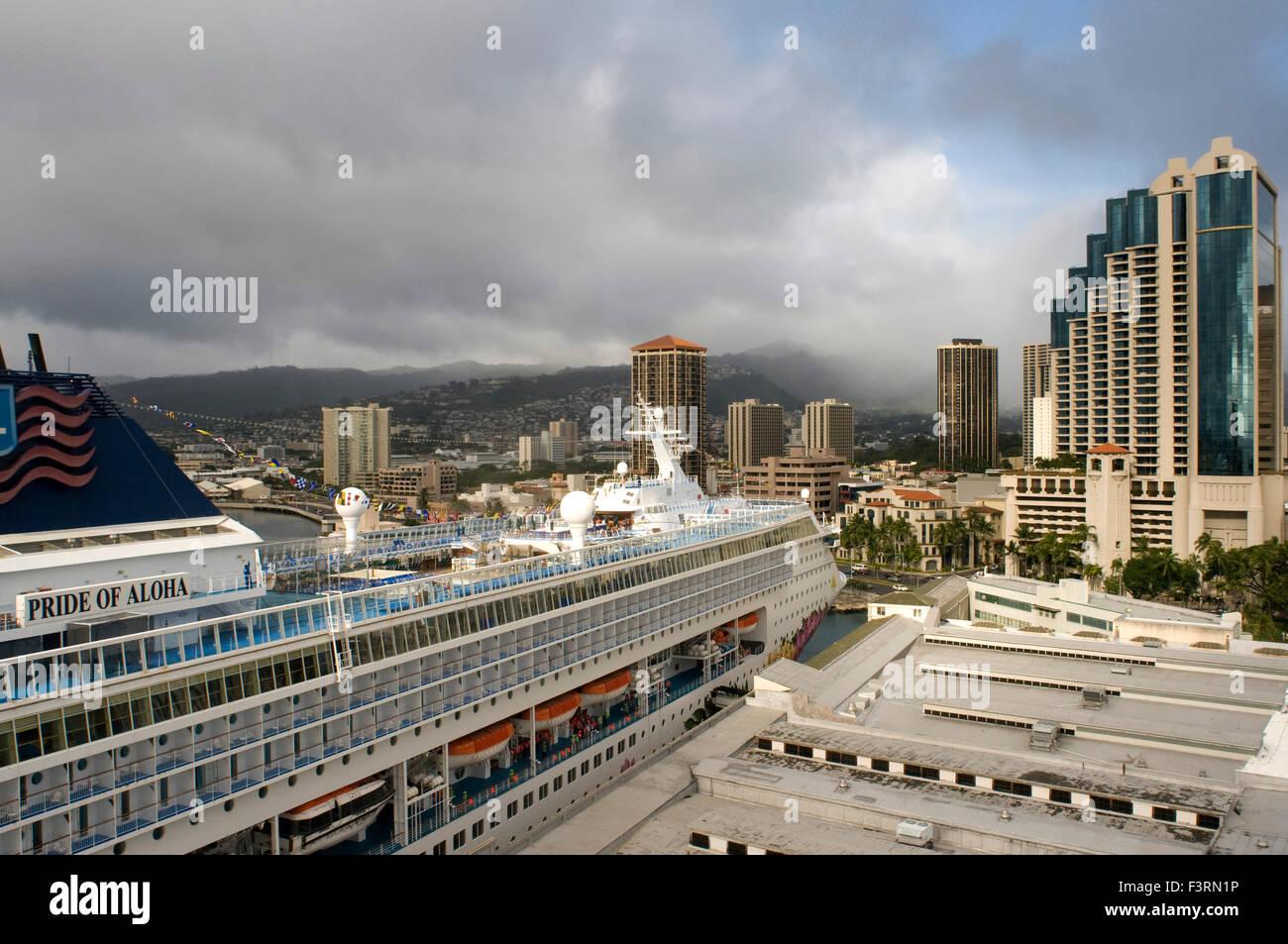 Cruise Ship Moored In The Port Of Honolulu O39ahu Hawaii