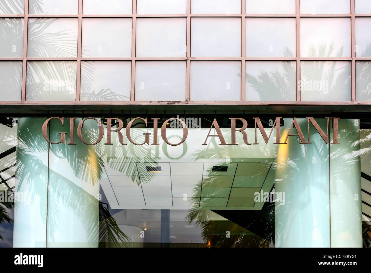 Giorgio Armani Store Overhead Sign On Rodeo Drive In