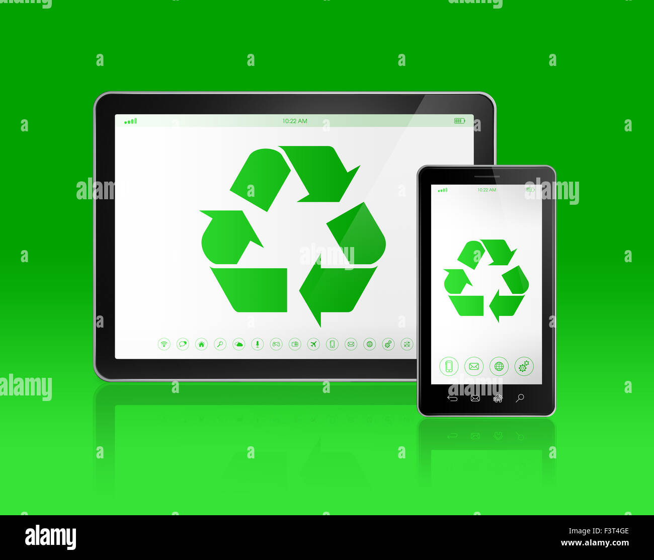3d digital tablet pc with a recycling symbol on screen ecological 3d digital tablet pc with a recycling symbol on screen ecological concept biocorpaavc Gallery