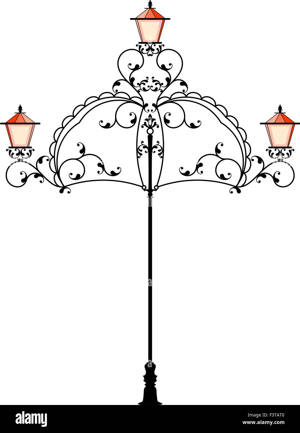 Wrought Iron Street Lamp Post Vector Art Stock Vector Art ... for Street Lamp Post Vector  199fiz