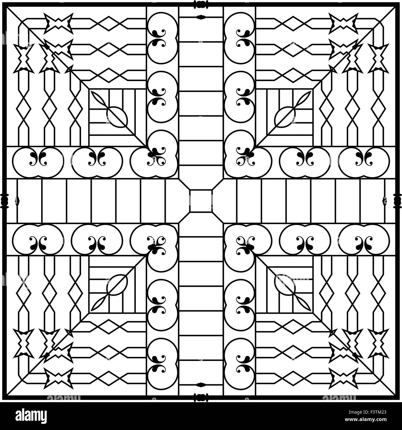 Wrought iron grill gate door fence window railing for Window design vector