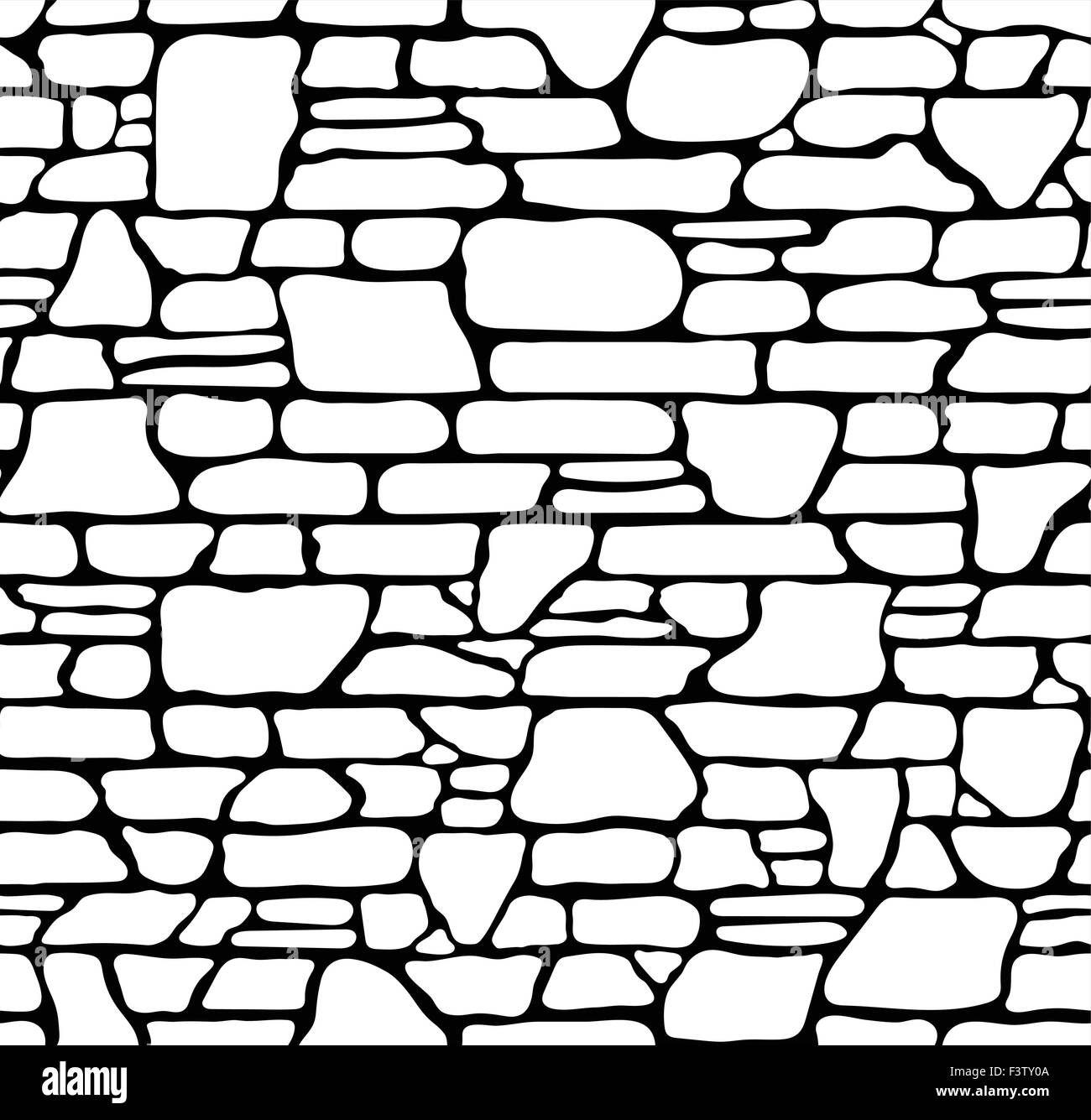 Seamless Grunge Stone Brick Wall Texture Vector Illustration