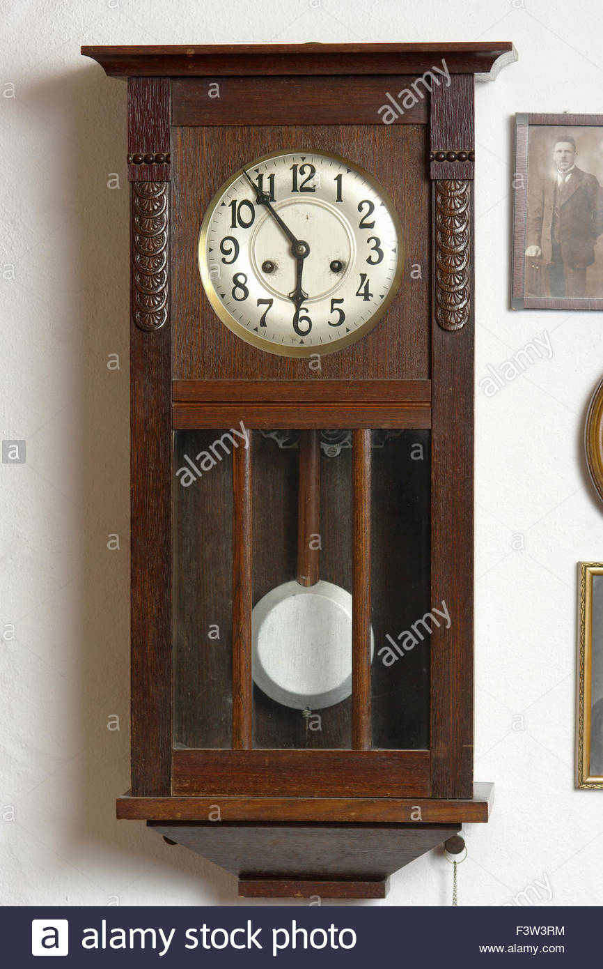 Clock old wooden wood hanging on wall six oÕclock Clock ...