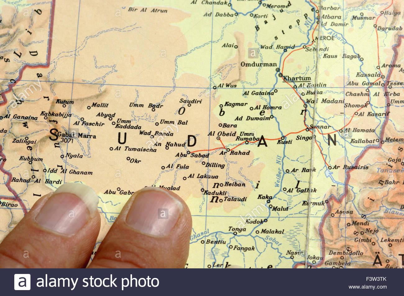 Map Of Africa Sudan Kagmar Okr Nyala UmmBal AlFashir Stock - Wad madani map