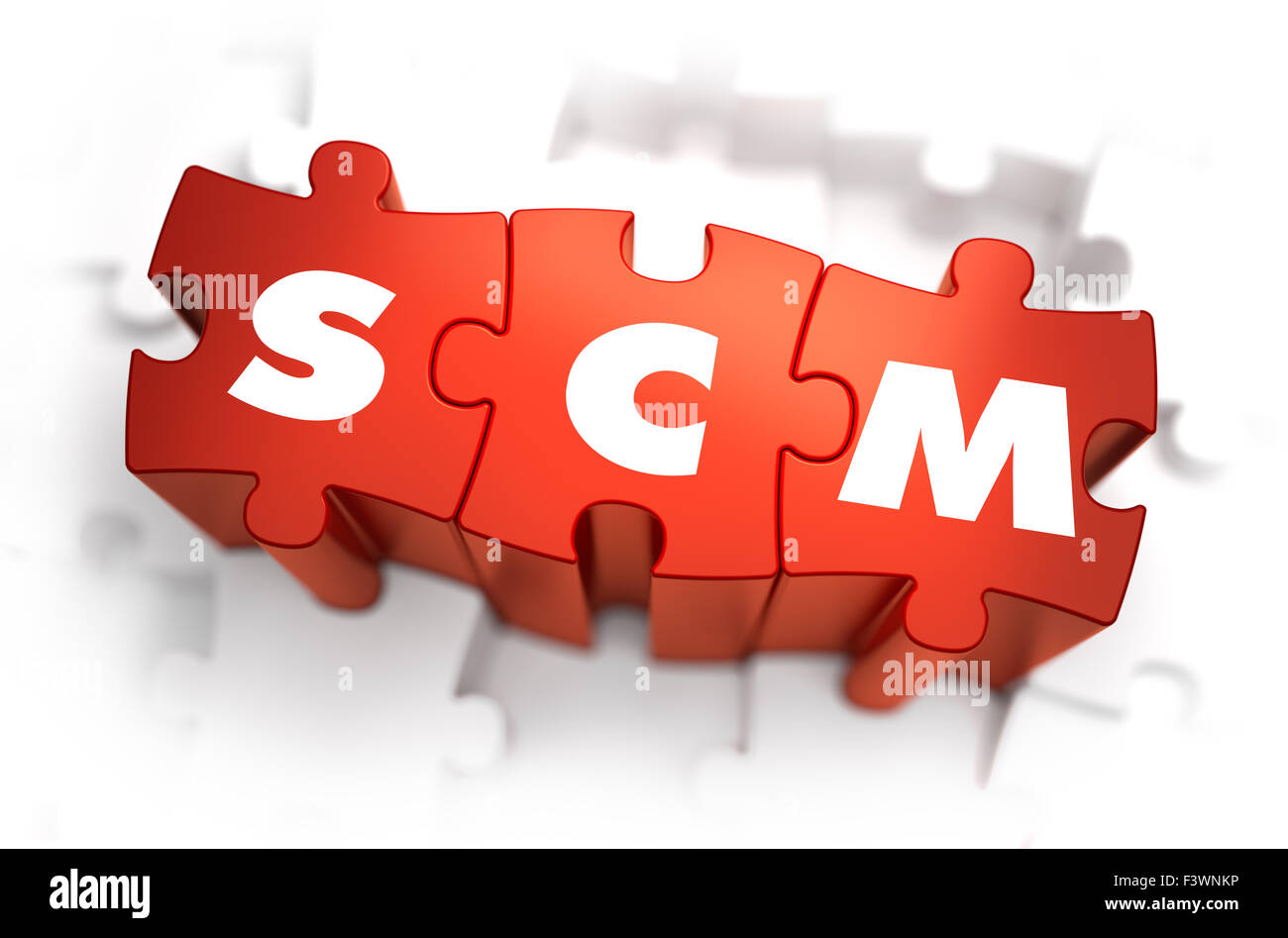 SCM - Supply Chain Management - Text on Red Puzzles with White ...