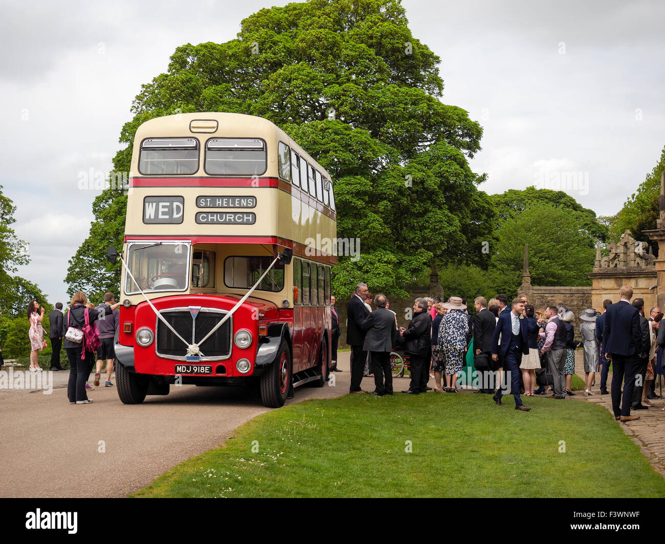 Wedding Party With Double Decker Bus In Derbyshire England