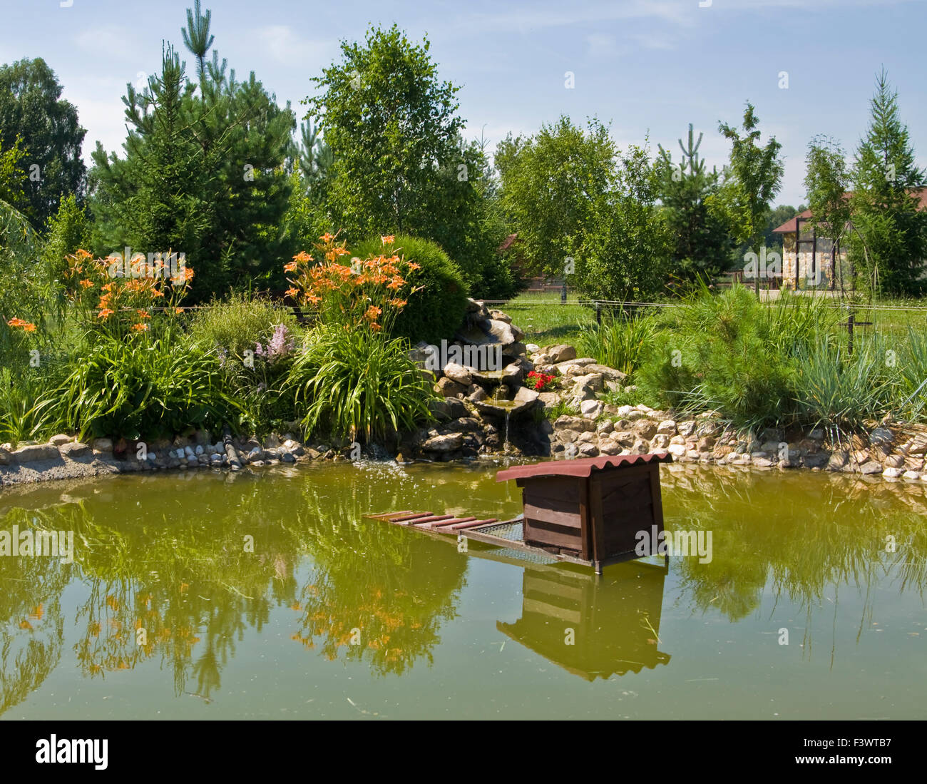 Landscape garden design little waterfall on pond in for Plants near ponds