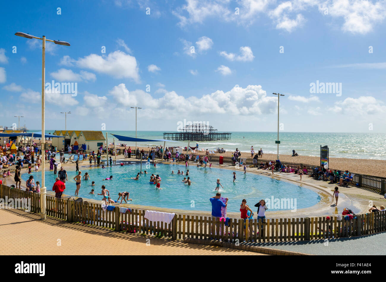 Kings Road Paddling Pool On The Seafront Of Brighton And Hove And Stock Photo Royalty Free