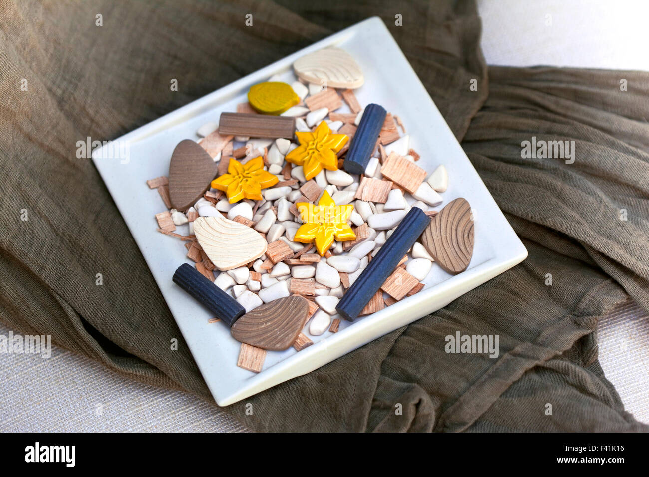 Mineral decoration and fabrics in the bathroom Stock Photo ...
