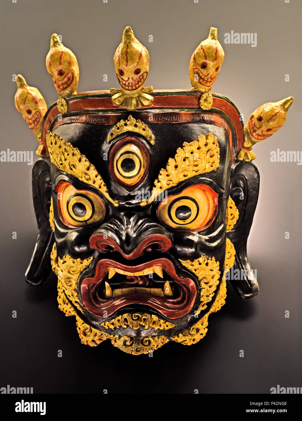 Painted and Lacquered Mask Cham Dance1900 -1950 Tibetan ...