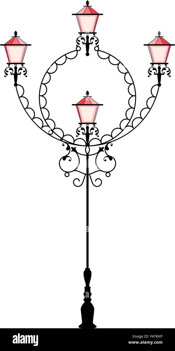 Wrought Iron Street Lamp Post Vector Art Stock Vector Art ... for Street Lamp Post Vector  287fsj