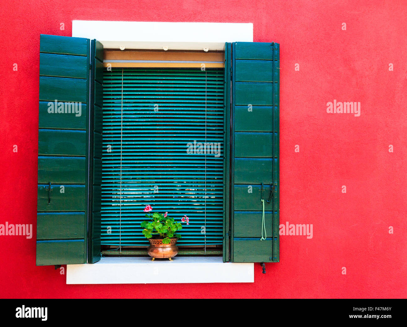 Door Window Red Shutter Old Fame House Green Brown