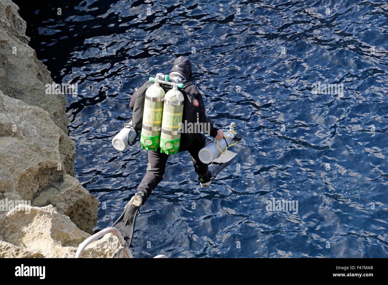 Tri Mix Scuba Diving : Technical trimix scuba diver gozo malta south europe