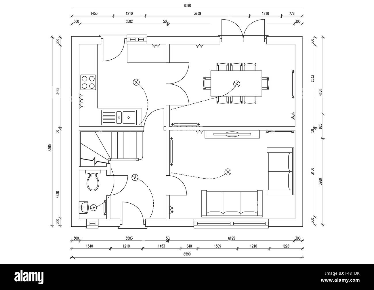 Blueprint Plan Of 3 Bedroom House Stock Photo Royalty Free Image