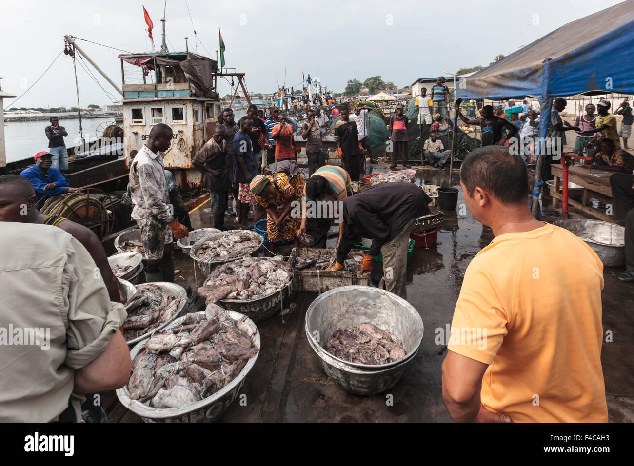 Africa, West Africa, Ghana, Cape Coast, Sekondi. Fishermen ...