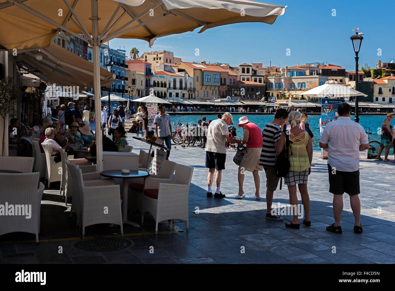 Cafe in the vieux port terra vecchia bastia corsica france stock - Restaurants And Tourists In The Old Port Of Chania Crete