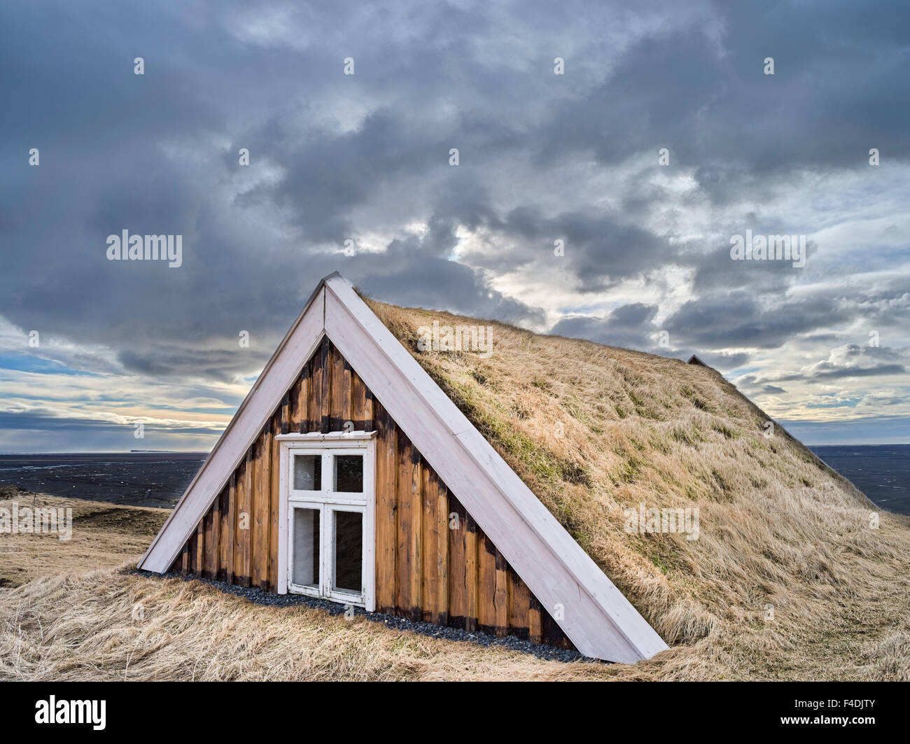 Stock Photo - The old farm Sel with traditional turf roofing now a Museum in Vatnajokull NP during winter. To protect it from the huge flooding of the ... & The old farm Sel with traditional turf roofing now a Museum in ... memphite.com