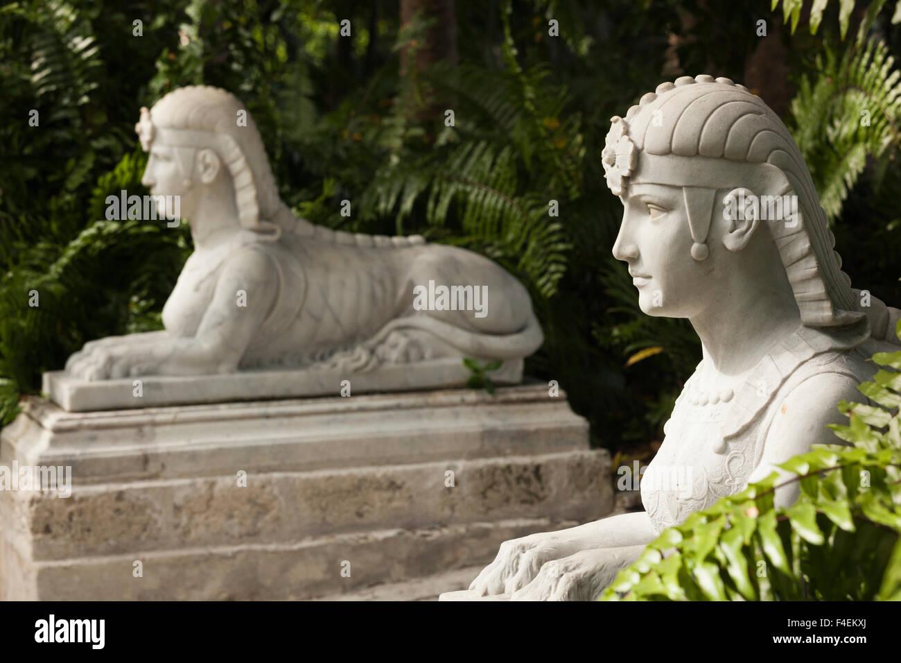 Stock Photo   USA, Florida, Miami Area, Coconut Grove, Vizcaya Museum And  Gardens, Garden Sphinx Statue